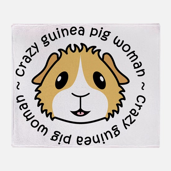 Crazy Guinea Pig Woman Throw Blanket