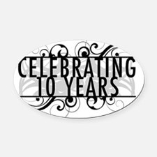 Celebrating 10 Years Of Marriage Oval Car Magnet