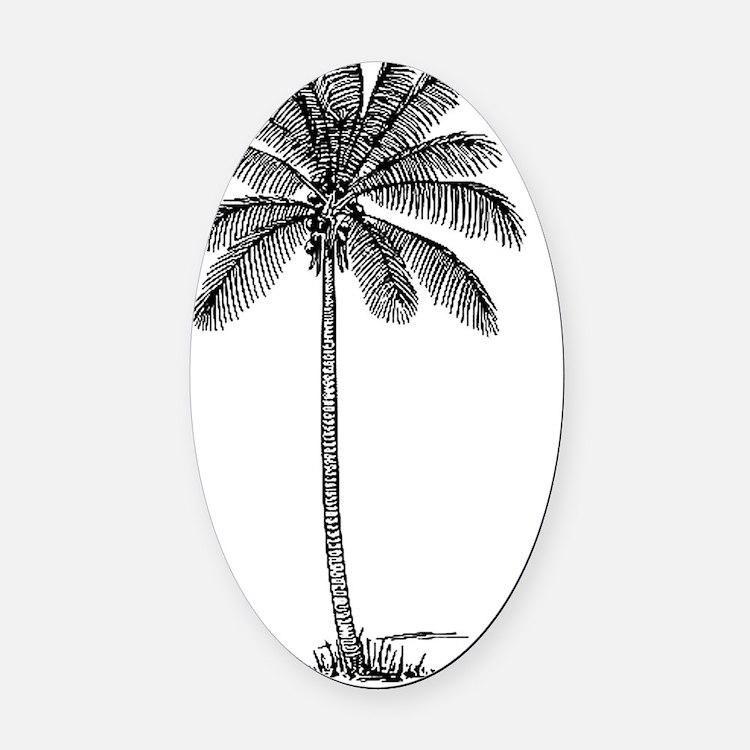 Palm Tree Oval Car Magnet