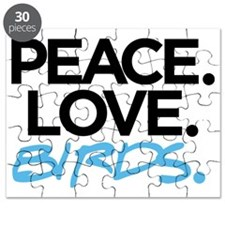 Peace. Love. Birds. (Black and Blue) Puzzle