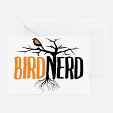 Bird Nerd (Black and Orange) Greeting Card