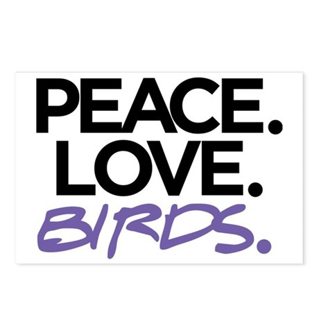 Peace. Love. Birds. (Blac Postcards (Package of 8)
