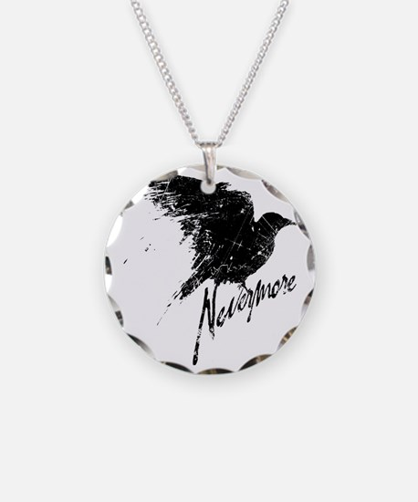 Nevermore Raven Necklace Circle Charm