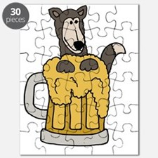 Funny Wolf in Beer Mug Puzzle