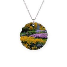 Gardens Color Explosion Necklace Circle Charm