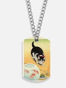 Shoson_Cat_and_Goldfish_-_Orange Dog Tags