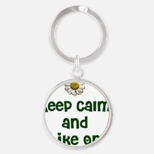 Keep Calm and Hike On Round Keychain