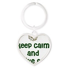 Keep Calm and Hike On Heart Keychain