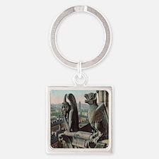 Gargoyles of Notre Dame Square Keychain