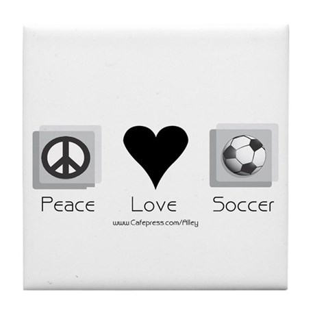 Peace Love & Soccer Tile Coaster