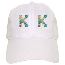 Beach Theme Initial K Baseball Cap
