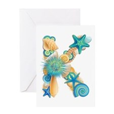 Beach Theme Initial K Greeting Card