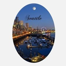 Seattle_5X7_Card_SeattleWaterfront Oval Ornament