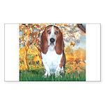 Monet's Spring & Basset Sticker (Rectangle)