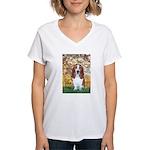Monet's Spring & Basset Women's V-Neck T-Shirt