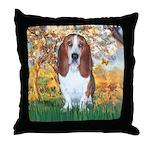 Monet's Spring & Basset Throw Pillow