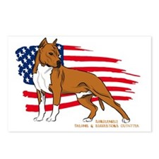 Amstaff USA flag Postcards (Package of 8)