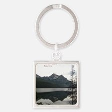 Be Still Sawtooth Mountains Square Keychain