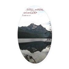 Be Still Sawtooth Mountains Oval Car Magnet