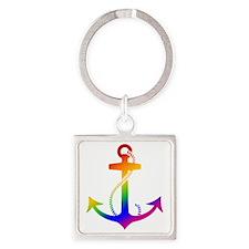 Rainbow Anchor Square Keychain