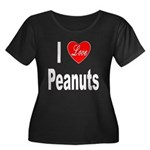 I Love Peanuts (Front) Women's Plus Size Scoop Nec