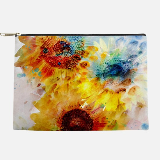 Watercolor Sunflowers Makeup Pouch