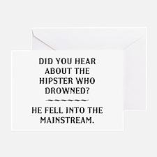 Hipster Mainstream Pun Greeting Card