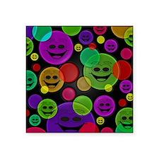 """Smiley Bubbles Faces Square Sticker 3"""" x 3"""""""