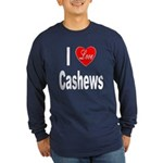 I Love Cashews (Front) Long Sleeve Dark T-Shirt