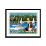 Sailboats & Basset Framed Panel Print
