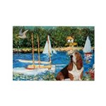 Sailboats & Basset Rectangle Magnet (10 pack)