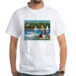 Sailboats & Basset White T-Shirt