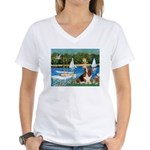 Sailboats & Basset Women's V-Neck T-Shirt