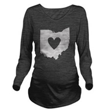 Heart Ohio state sil Long Sleeve Maternity T-Shirt