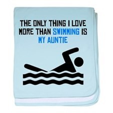Swimming Auntie baby blanket