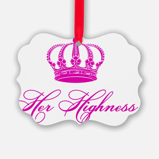 Her Highness text design with an  Ornament