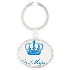 His Majesty text design with an old  Oval Keychain