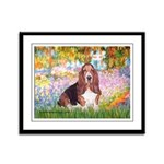 Basset in the Garden Framed Panel Print