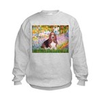 Basset in the Garden Kids Sweatshirt