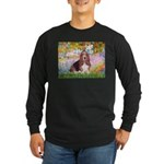 Basset in the Garden Long Sleeve Dark T-Shirt