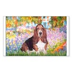 Basset in the Garden Sticker (Rectangle)