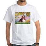 Basset in the Garden White T-Shirt