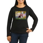Basset in the Garden Women's Long Sleeve Dark T-Sh