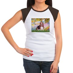 Basset in the Garden Women's Cap Sleeve T-Shirt