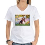 Basset in the Garden Women's V-Neck T-Shirt