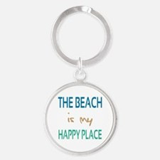 The Beach Is My Happy Place Round Keychain