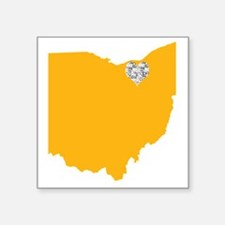 "Ohio Cleveland Heart Square Sticker 3"" x 3"""