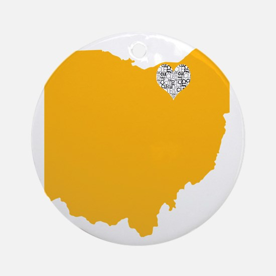 Ohio Cleveland Heart Round Ornament