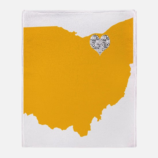 Ohio Cleveland Heart Throw Blanket