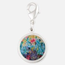 Flowers Everywhere Silver Round Charm